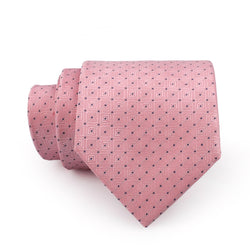 Charcoal Polka Dotted On Pink Design Regular Tie
