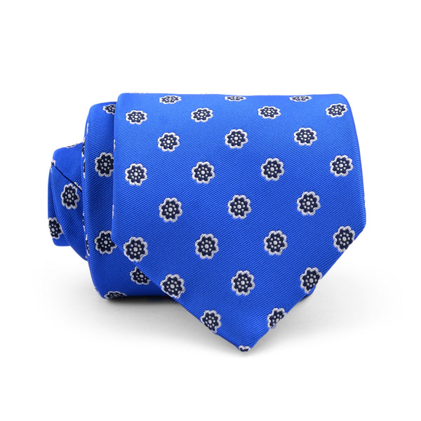 Navy Blue Floral On Blue Regular Tie