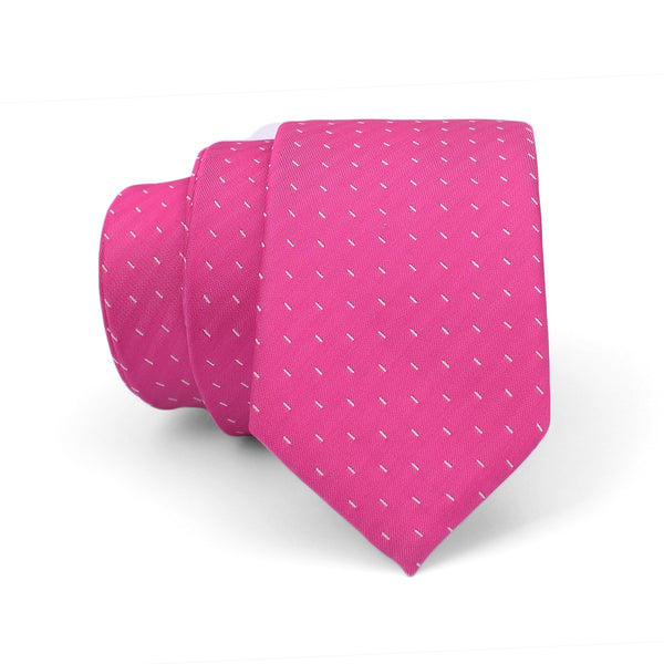 White Dotted On Pink Slim Tie