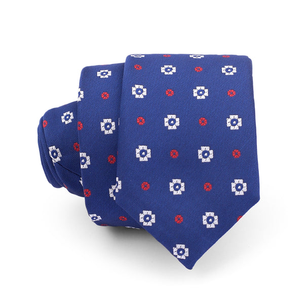 Multi Floral Texture On Blue Slim Tie