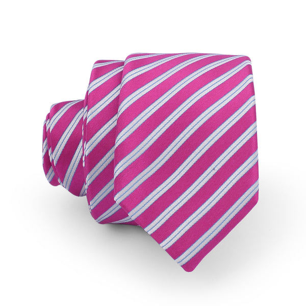 Pink And White Diagonal Stripe Slim Tie
