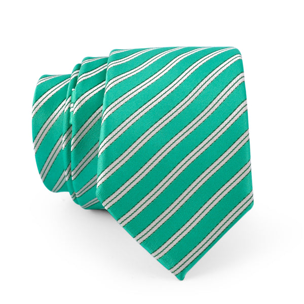 Green And Off White Diagonal Stripe Slim Tie