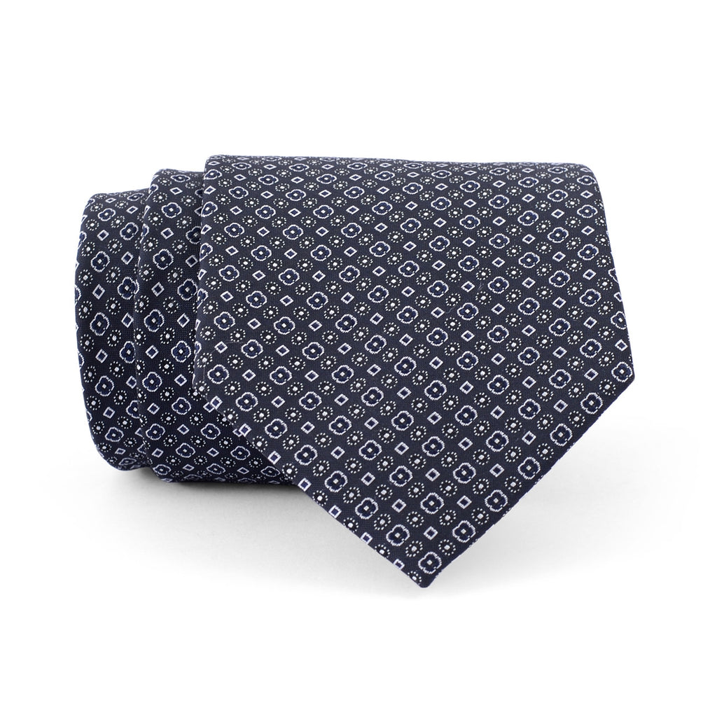 Navy Blue Flower Black Regular Tie