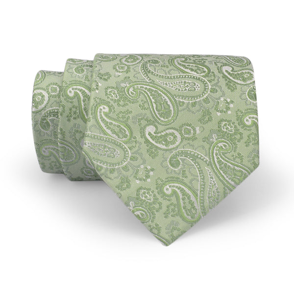 Light Green Self Paisley Regular Tie