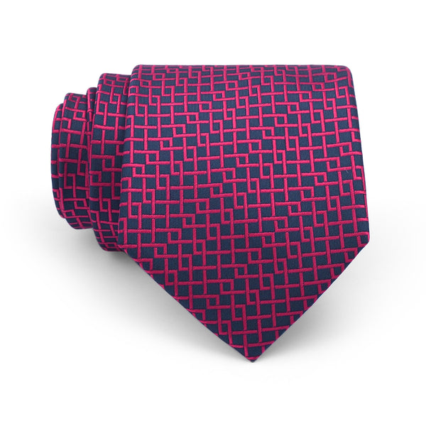 Red Check On Navy Blue Regular Tie