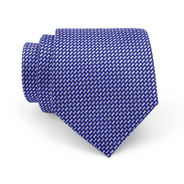 Blue Self Pattern Regular Tie