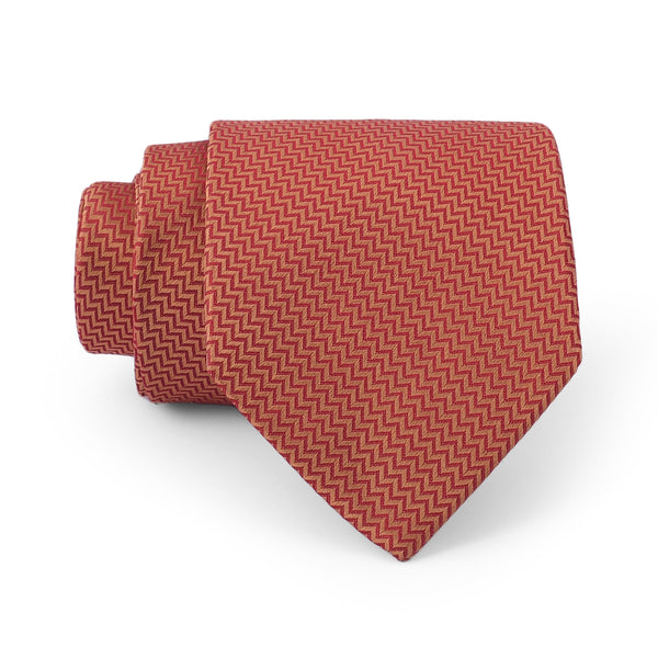 Rust Self Chevron Pattern Regular Tie