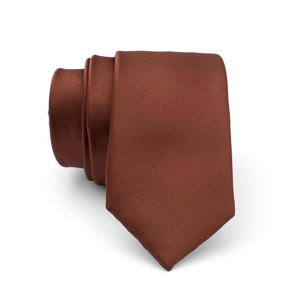 Brown Plain Slim Tie