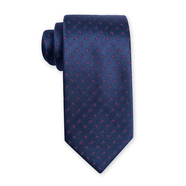 Navy Blue With Red Paisley Design Regular Tie