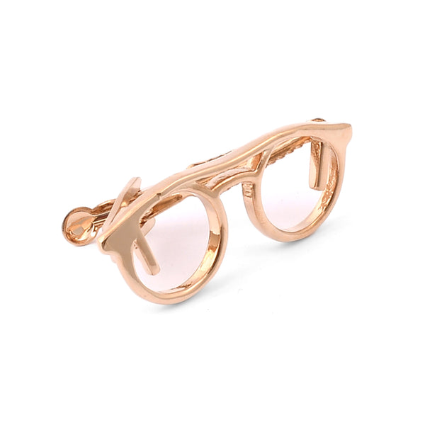 Golden Glasses Frame Tie Pin
