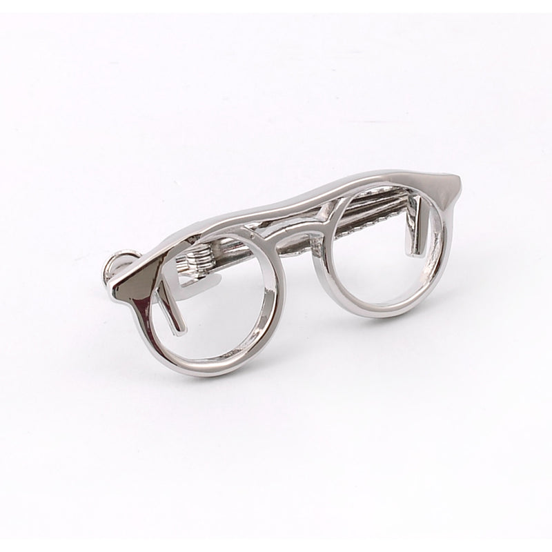 Silver Glasses Frame Tie Pin