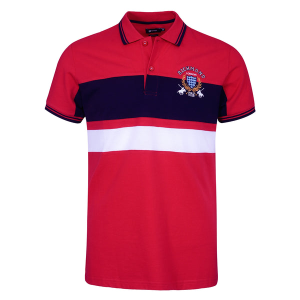 Red And Navy Blue Polo T-Shirt-M