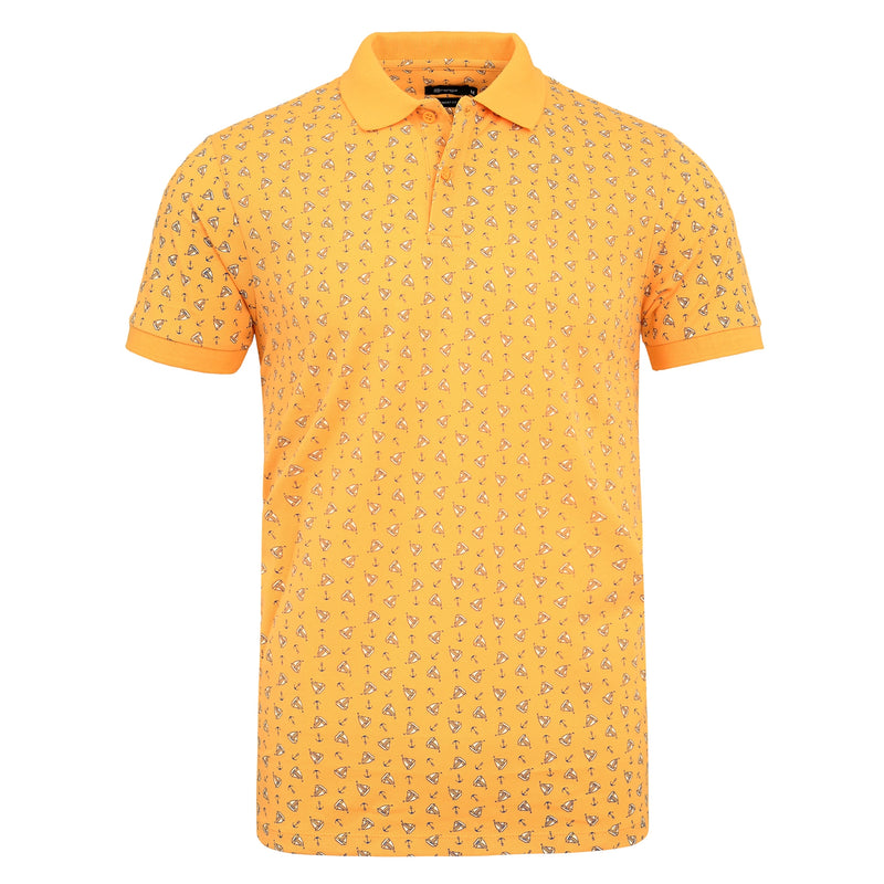 Anchor Boat Printed On Mustard Polo T-Shirt-M