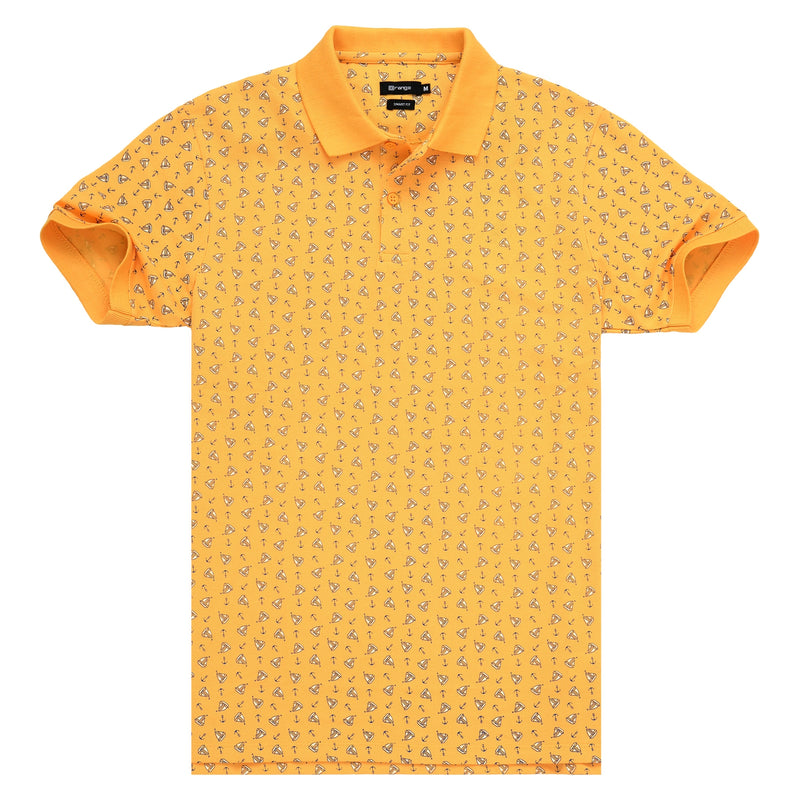 Anchor Boat Printed On Mustard Polo T-Shirt