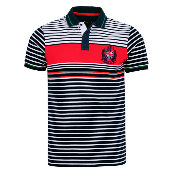 Navy Blue And Multi Stripe Polo T-Shirt-L