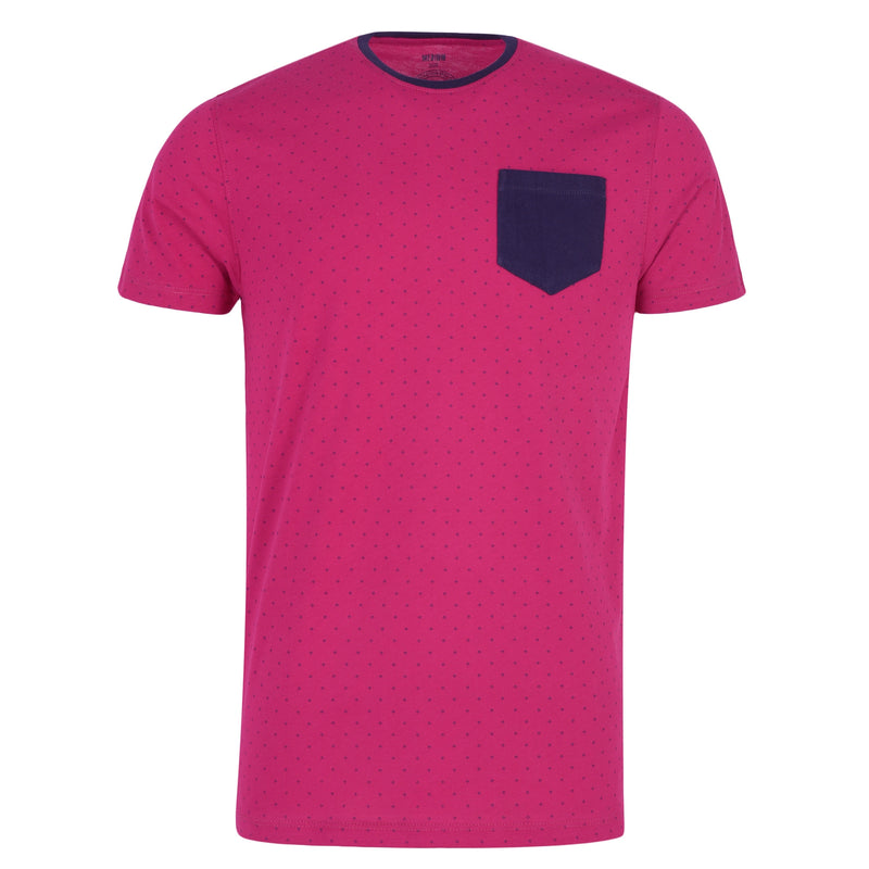 Navy Blue Dotted Pink Tee-L