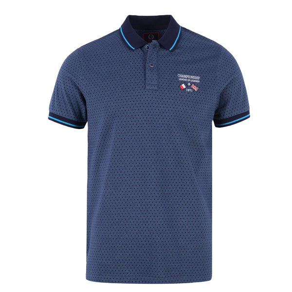Navy Blue Dots On Blue Polo T-Shirt-L