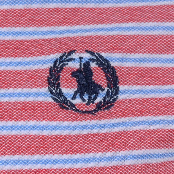 Red And Multi Stripe Polo T-Shirt