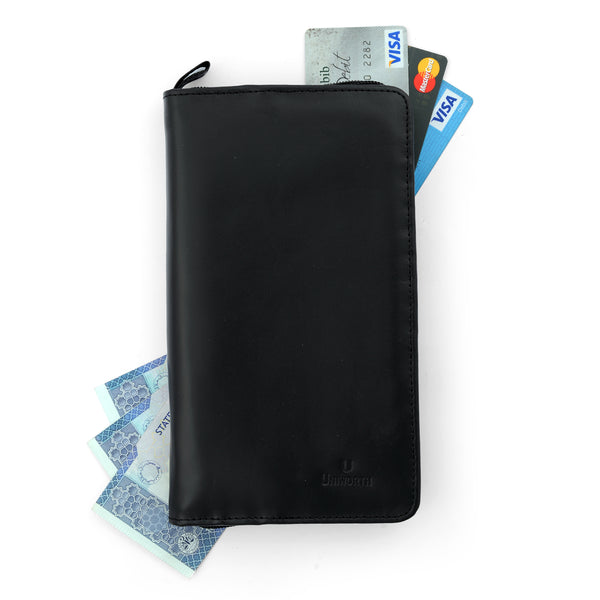 Black Leather Long Wallet