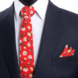 Tie And Pocket Square Red Floral Wedding Box