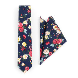 Tie And Pocket Square Blue Floral Wedding Box