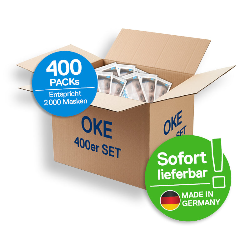 Business Pack </br>400 Sets, 1 Set = 1 fertig montierte Maske + 4 Wechselvlies