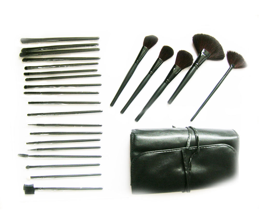 24 Black Individual Cosmetics Make Up Brushes Natural No Loss Hair in a Carry case