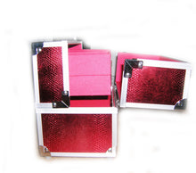 Load image into Gallery viewer, Miami Red Sparkles Small Locking Beauty Case Imperfect