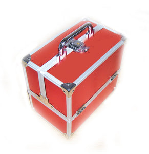 Miami Red Sparkles Small Locking Beauty Case Imperfect