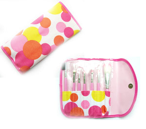7 Pink Piece Cosmetics Make up Brush Set and Carry Case