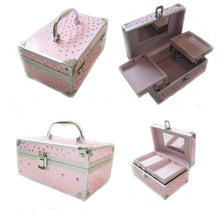 Load image into Gallery viewer, Small Childrens Beauty Case Pink with Gold Stars