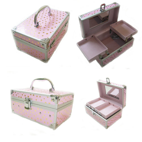 Small Childrens Beauty Case Pink with Gold Stars