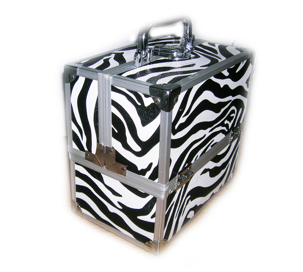 Small Zebra Pattern Locking Beauty Case