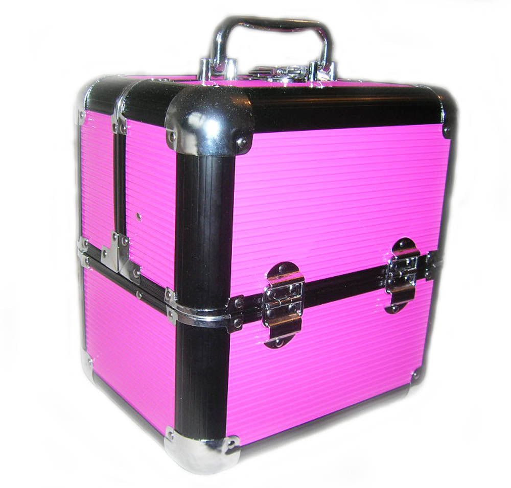 Medium Cerise Locking Beauty Cosmetic Case  with 2 Bottle Holder Straps