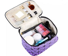 Load image into Gallery viewer, Purple Multifunctional Cosmetic Travel Bag Shiny Two Tone Effect With Mirror