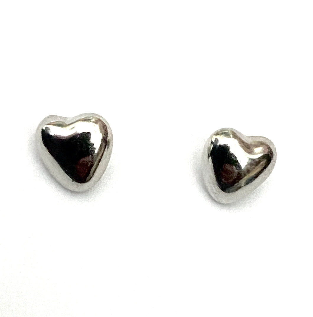 Heart Shaped Shiny Silver Colour Earrings
