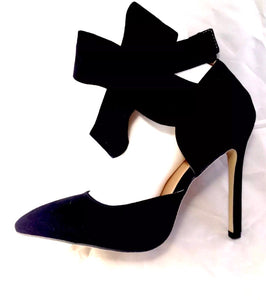 Black High Heel Suede Shoes with Bow