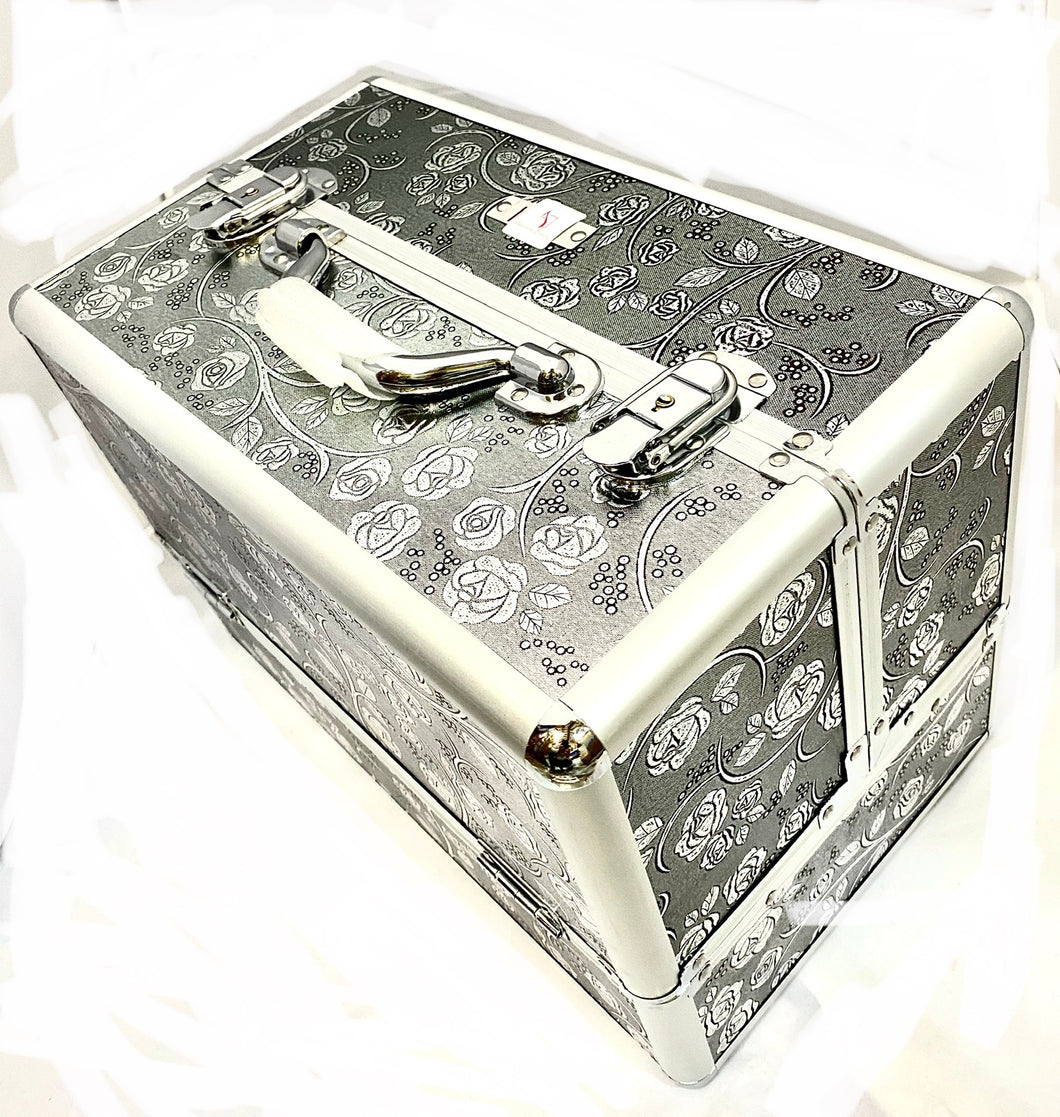Large Silver Rose Beauty Case box