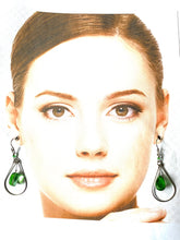 Load image into Gallery viewer, Ethnic Peruvian Green Stone Drop Earrings