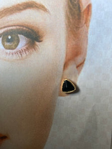 Black Triangular Style Gold Colour Earrings