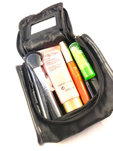Small Black Cosmetic Travel Bag Case With Mirror And Zipper