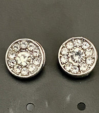 Load image into Gallery viewer, Round Diamond Effect Silver Colour Earrings