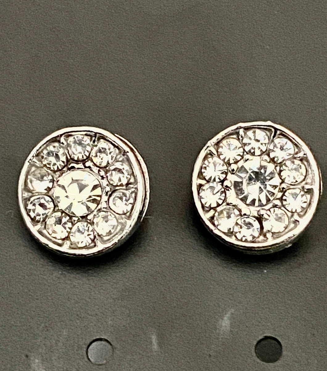 Round Diamond Effect Silver Colour Earrings
