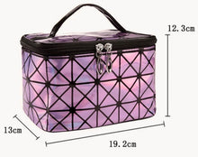 Load image into Gallery viewer, Pink Multifunctional Cosmetic Travel Bag Shiny Two Tone Effect With Mirror