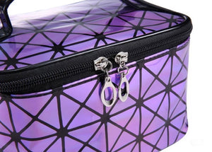 Pink Multifunctional Cosmetic Travel Bag Shiny Two Tone Effect With Mirror