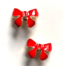 Load image into Gallery viewer, Small Christmas Red Bow Earrings + Snowman Gift Box