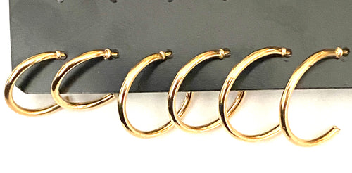3 Pairs of Gold Colour Hoop Earrings
