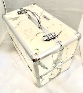 Large White Marble Locking Beauty Case