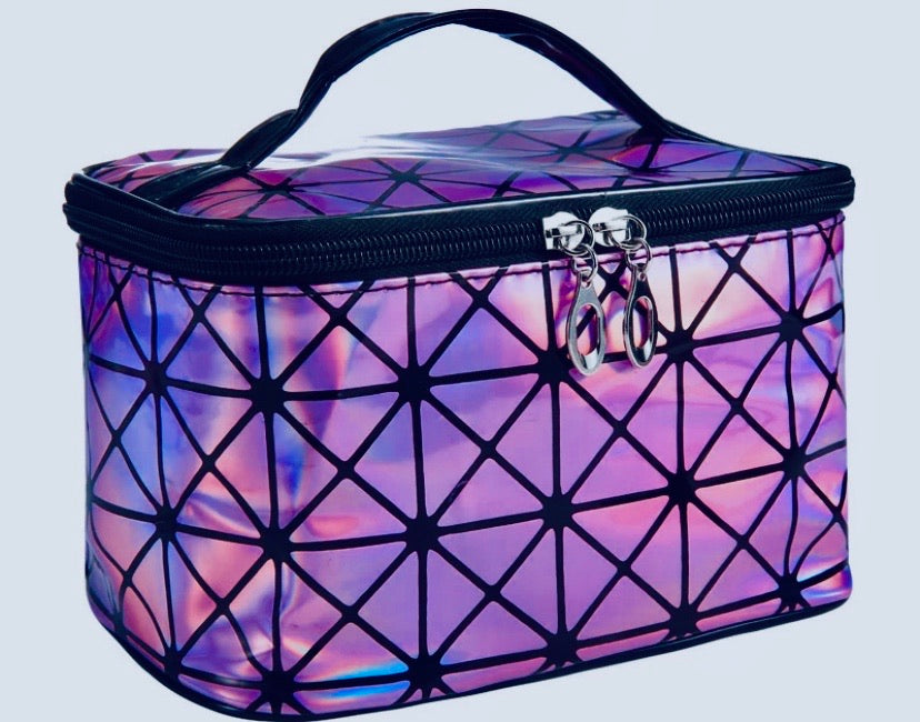 Purple Multifunctional Cosmetic Travel Bag Shiny Two Tone Effect With Mirror