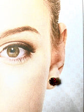 Load image into Gallery viewer, Red Ruby Style Round Gold Colour Earrings
